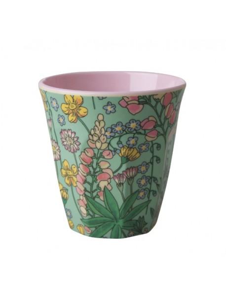 Gobelet - fleurs rose / vert - medium