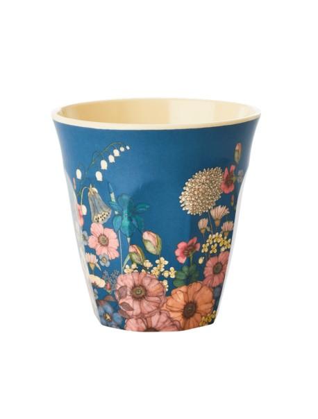 Gobelet - fleurs / bleu - medium
