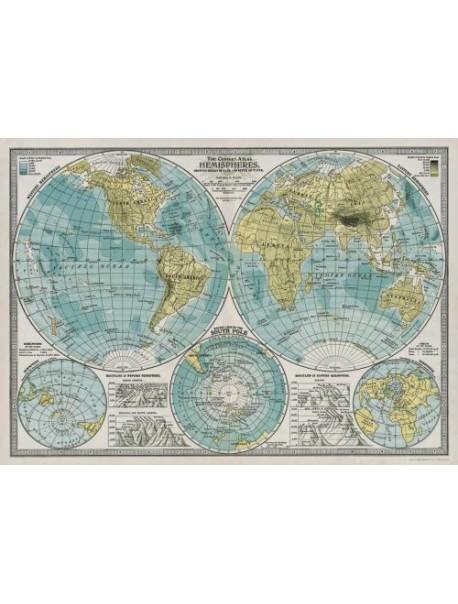 Affiche Carte Hémisphère