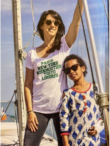 "Tee Shirt Femme ""Paris NY Noirmoutier Tokyo Londres"" Vert"