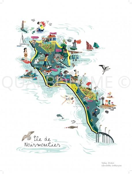 Grande Affiche Carte Noirmoutier