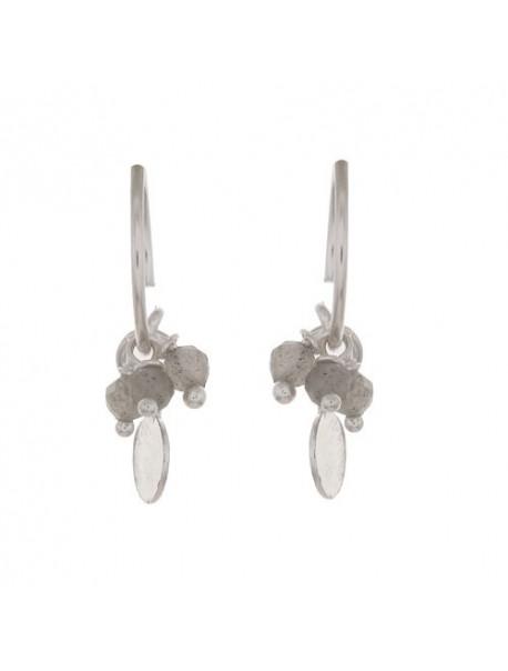 Mini créoles & trio de pierre et pendentif -Labradorite