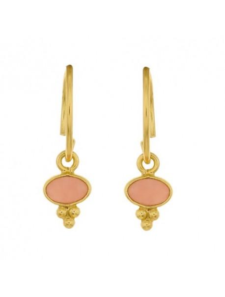 Mini créoles & pendentif gipsy - Opale rose