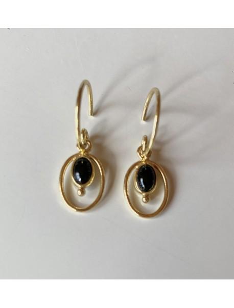 Mini créoles & pendentif ovale - Agate noire