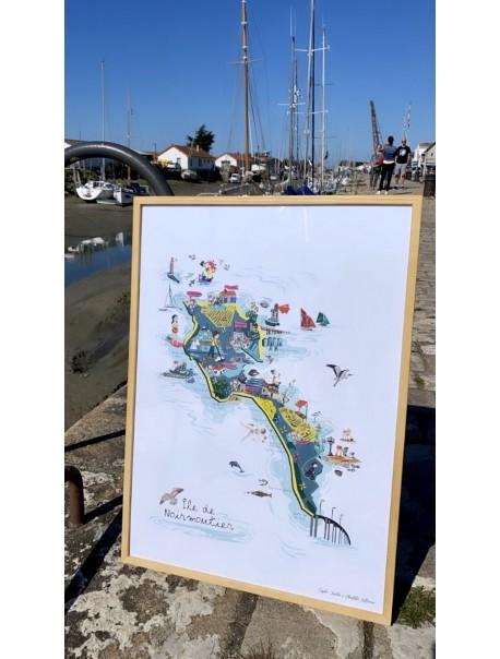 Affiche Carte de Noirmoutier Encadrement Bois