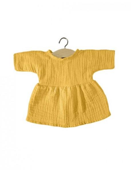 Robe Faustine coton double gaze Moutarde