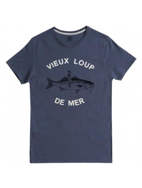 "Tee shirt ""Vieux Loup"" Dark Blue"