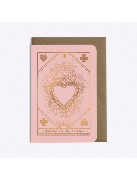 Carte l'Amour Est Une Chance Rose