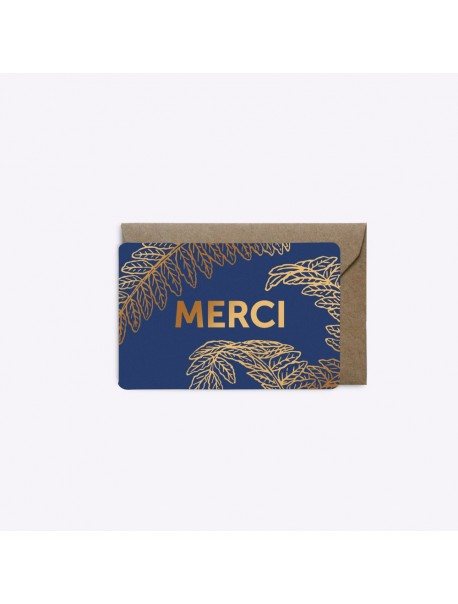 Mini Carte Merci Fougère Bleu Saphir