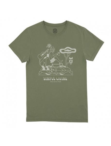 "Tee shirt ""Simple Living"" Lichen"