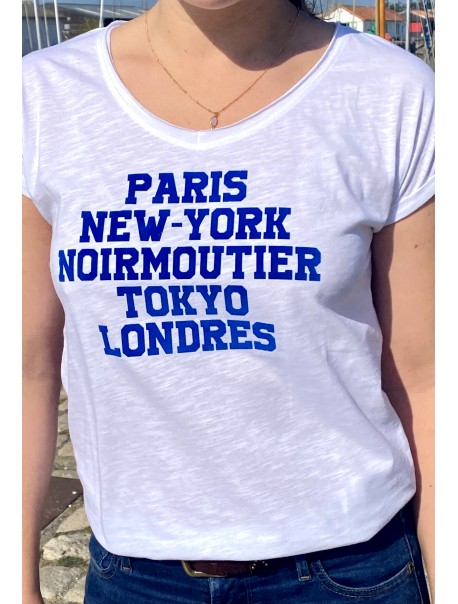 "Tee-Shirt ""Paris NY Noirmoutier Tokyo Londres"" Bleu"