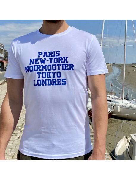 "Tee Shirt Homme  ""Paris NY Noirmoutier Tokyo"" BLEU"